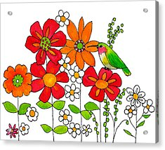 Hummingbird And Flowers Acrylic Print by Blenda Studio