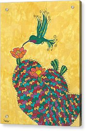 Hummingbird And Prickly Pear Acrylic Print by Susie Weber