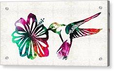 Hummingbird Art - Tropical Chorus - By Sharon Cummings Acrylic Print by Sharon Cummings