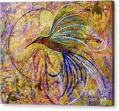 Hummingbird Don't Fly Away Acrylic Print by Jane Chesnut