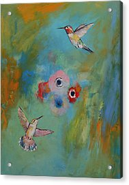 Hummingbirds Acrylic Print by Michael Creese