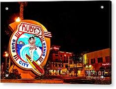Huntington Beach Downtown Nightside 2 Acrylic Print by Jim Carrell