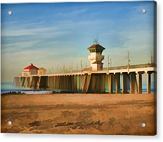 Huntington Beach Pier California Acrylic Print by Flo Karp