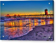 Huntington Beach Pier Sundown Acrylic Print by Jim Carrell