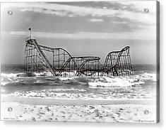 Hurricane Sandy Jetstar Roller Coaster Black And White Acrylic Print by Jessica Cirz