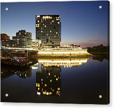 Hyatt Hotel At Dusk, Media Harbour Acrylic Print by Panoramic Images