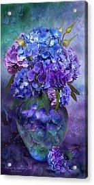 Hydrangeas In Hydrangea Vase Acrylic Print by Carol Cavalaris