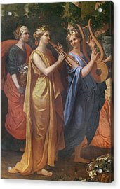 Hymenaios Disguised As A Woman During An Offering To Priapus, Detail Of The Musicians, C.1634-38 Acrylic Print by Nicolas Poussin