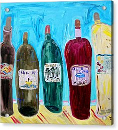 I Choose Wine By The Label Acrylic Print by Mary Carol Williams