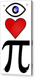 I Heart Pi Acrylic Print by Ron Hedges