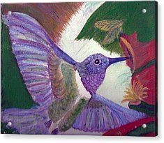 I Love Hummingbirds  Acrylic Print by Anne-Elizabeth Whiteway