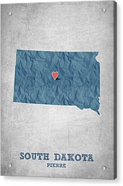 I Love Pierre South Dakota - Blue Acrylic Print by Aged Pixel