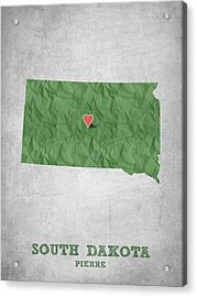 I Love Pierre South Dakota - Green Acrylic Print by Aged Pixel
