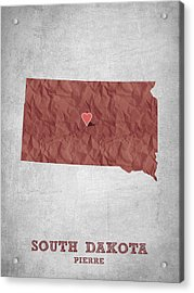 I Love Pierre South Dakota - Red Acrylic Print by Aged Pixel