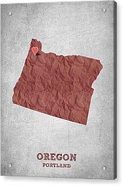 I Love Portland Oregon- Red Acrylic Print by Aged Pixel