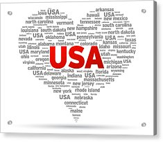 I Love Usa Acrylic Print by Aged Pixel