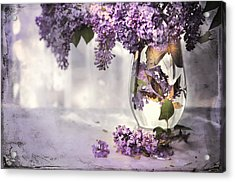 I Picked A Bouquet Of Lilacs Today Acrylic Print by Theresa Tahara