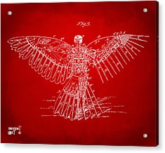 Icarus Human Flight Patent Artwork Red Acrylic Print by Nikki Marie Smith