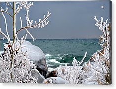 Ice Covered Rocks Acrylic Print by Hella Buchheim