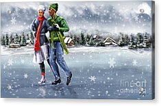 Ice Dancing On The Lake Acrylic Print by Reggie Duffie