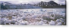 Ice Floes In The Sea With A Glacier Acrylic Print by Panoramic Images