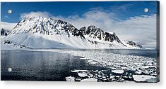 Ice Floes On Water With A Mountain Acrylic Print by Panoramic Images