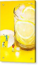 Ice Making For Lemonade Little People On Food Acrylic Print by Paul Ge