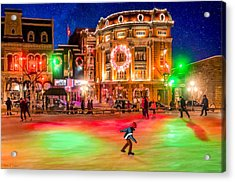 Ice Skating On A Beautiful Night In Quebec Acrylic Print by Mark Tisdale