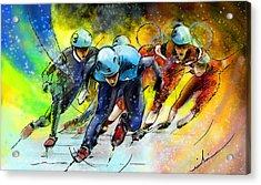 Ice Speed Skating 01 Acrylic Print by Miki De Goodaboom