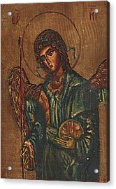 Icon Of Archangel Michael - Painting On The Wood Acrylic Print by Nenad Cerovic