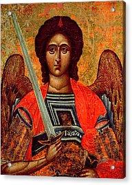 Icon Of The Angel Michael Acrylic Print by Greek School
