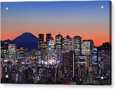 Iconic Mt Fuji With Shinjuku Skyscrapers Acrylic Print by Duane Walker