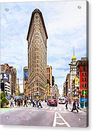 Iconic New York City Flatiron Building Acrylic Print by Mark E Tisdale