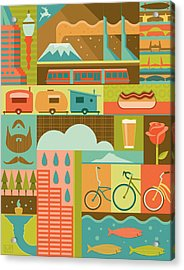 Iconic Portland Acrylic Print by Mitch Frey