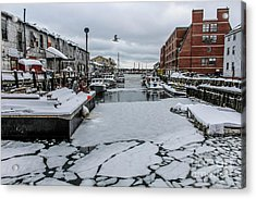Icy Harbor Day Acrylic Print by Joe Faragalli