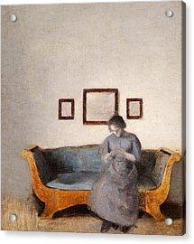 Ida Hammershoi Sitting On A Sofa Acrylic Print by Vilhelm Hammershoi