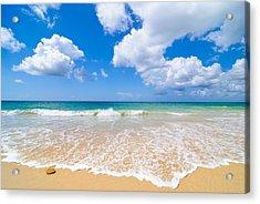 Idyllic Summer Beach Algarve Portugal Acrylic Print by Amanda Elwell