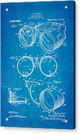 Ihrcke Welding Goggles Patent Art 1917 Blueprint Acrylic Print by Ian Monk