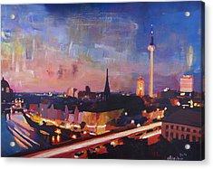 Illuminated Berlin Skyline At Dusk  Acrylic Print by M Bleichner