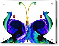 Illusion - Peacock Butterfly Art Painting Acrylic Print by Sharon Cummings