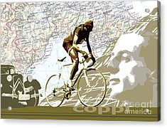 Illustration Print Giro De Italia Coppi Vintage Map Cycling Acrylic Print by Sassan Filsoof