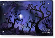 Illustration Print Of Spooky Forest Of Curly Trees Acrylic Print by Sassan Filsoof