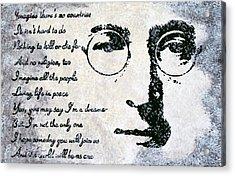 Imagine-john Lennon Acrylic Print by Bryan Dubreuiel