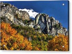 Imposing Seneca Rocks - Seneca Rocks National Recreation Area Wv Autumn Mid-afternoon Acrylic Print by Michael Mazaika