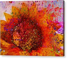 Impressionistic Colorful Flower  Acrylic Print by Ann Powell