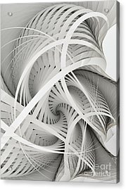 In Betweens-white Fractal Spiral Acrylic Print by Karin Kuhlmann