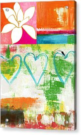 In Bloom- Colorful Heart And Flower Art Acrylic Print by Linda Woods