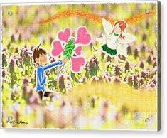 In Purple Deadnettle Forest Acrylic Print by Pen Osawa