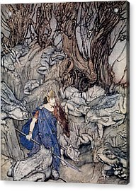 In The Forked Glen Into Which He Slipped At Night-fall He Was Surrounded By Giant Toads Acrylic Print by Arthur Rackham