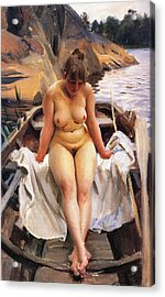 In Werners Rowing Boat Acrylic Print by Anders Zorn